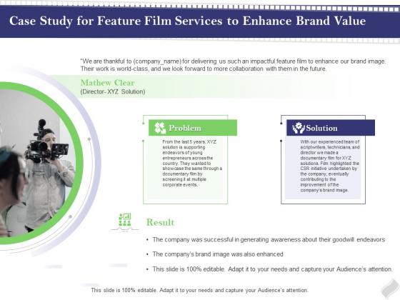 Film Branding Enrichment Case Study For Feature Film Services To Enhance Brand Value Slides PDF