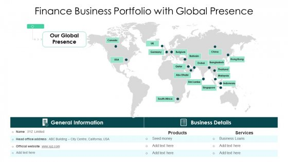 Finance Business Portfolio With Global Presence Ppt Portfolio Grid PDF