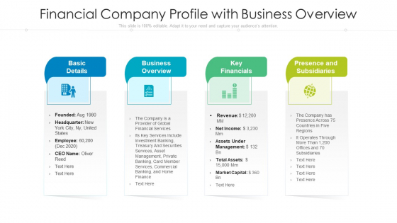 Financial Company Profile With Business Overview Ppt Good PDF