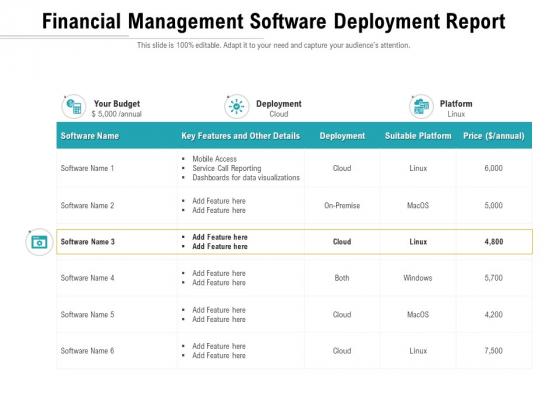 Financial Management Software Deployment Report Ppt PowerPoint Presentation File Slide Portrait PDF