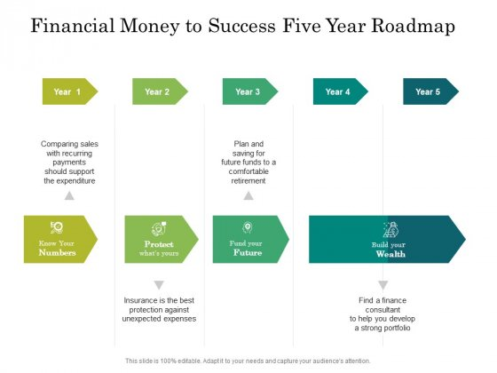 Financial Money To Success Five Year Roadmap Demonstration Mockup