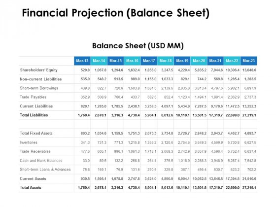Financial Projection Balance Sheet Ppt PowerPoint Presentation Model Example Introduction