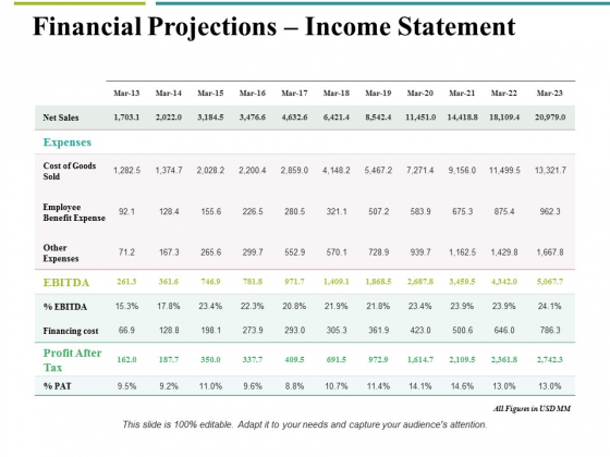 Financial Projections Income Statement Ppt PowerPoint Presentation Outline Designs Download