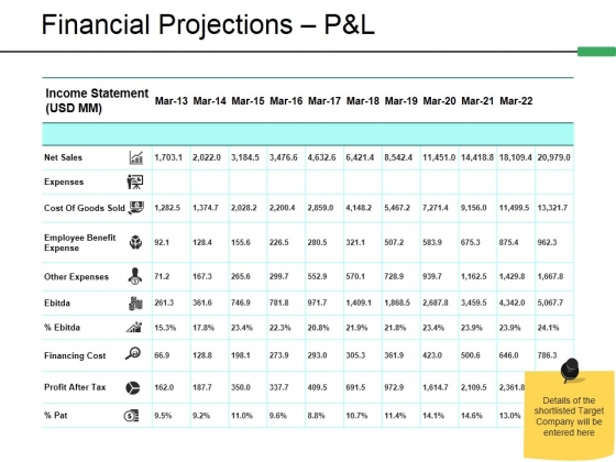 Financial Projections P And L Template 1 Ppt PowerPoint Presentation Show Ideas