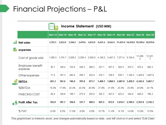 Financial Projections Pandl Ppt PowerPoint Presentation Visual Aids Professional