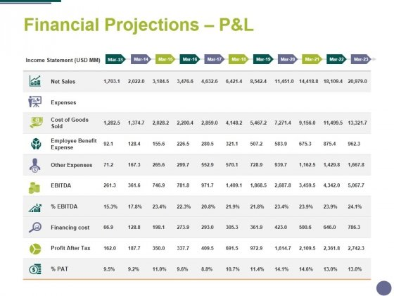 Financial Projections Panel Template 1 Ppt PowerPoint Presentation Summary Slide