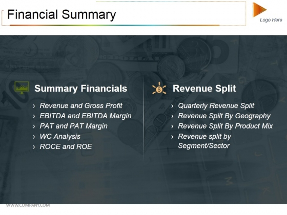Financial Summary Ppt PowerPoint Presentation Outline Information