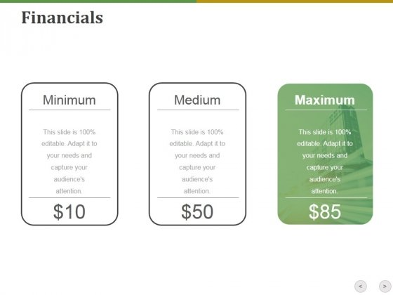 Financials Ppt PowerPoint Presentation Gallery Diagrams