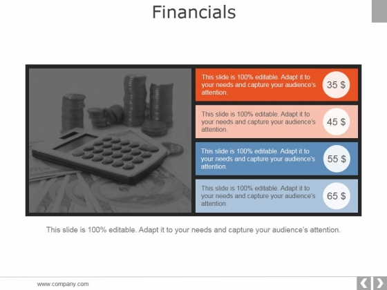 Financials Ppt PowerPoint Presentation Layouts Topics