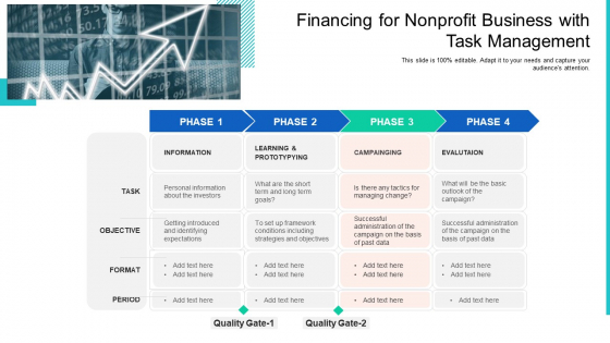 Financing For Nonprofit Business With Task Management Ppt Slides Aids PDF