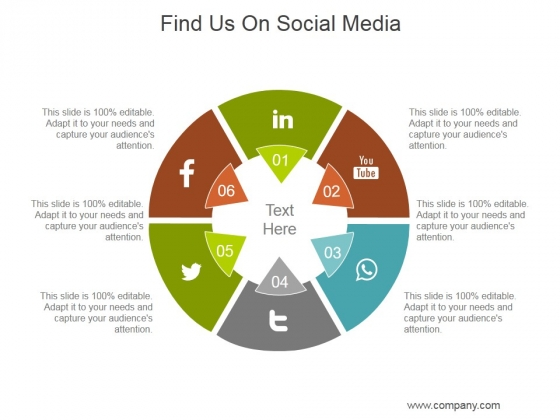 Find Us On Social Media Ppt PowerPoint Presentation Layout
