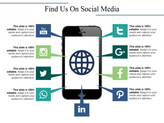 Find Us On Social Media Ppt PowerPoint Presentation Professional Layout