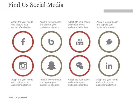 Find Us Social Media Ppt PowerPoint Presentation Background Images