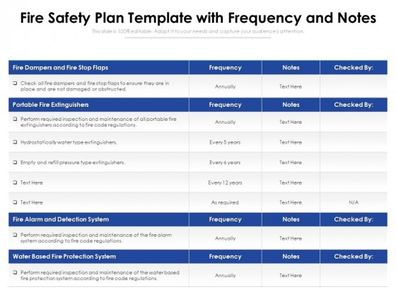 Fire Safety Plan Template With Frequency And Notes Ppt PowerPoint Presentation File Shapes PDF