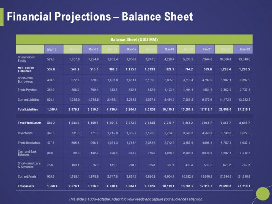 Firm Capability Assessment Financial Projections Balance Sheet Ppt Styles Format PDF