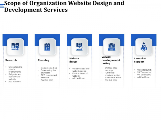 Firm Webpage Builder And Design Scope Of Organization Website Design And Development Services Pictures PDF