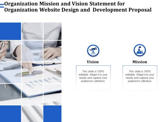 Firm Webpage Builder And Organization Mission And Vision Statement For Organization Website Design And Development Proposal Elements PDF