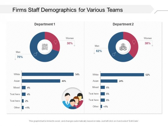 Firms Staff Demographics For Various Teams Ppt PowerPoint Presentation Gallery Templates PDF