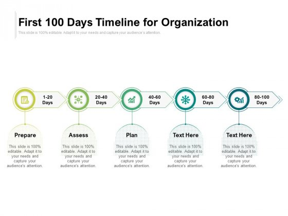 First 100 Days Timeline For Organization Ppt PowerPoint Presentation Gallery Elements PDF