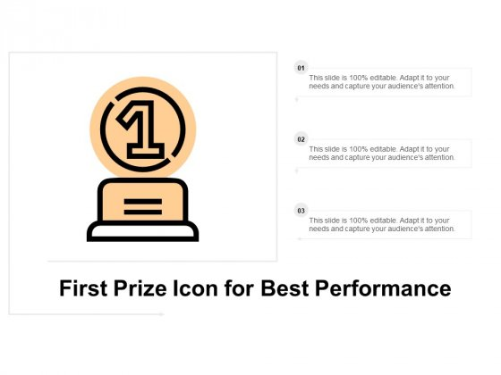 First Prize Icon For Best Performance Ppt PowerPoint Presentation Slides Themes