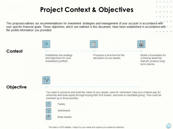 Fiscal Management Project Context And Objectives Ppt Infographic Template Background Image PDF
