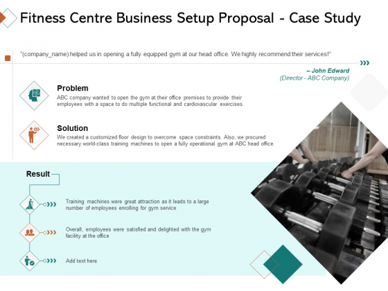 Fitness Centre Business Setup Proposal Case Study Ppt Infographic Template Clipart PDF
