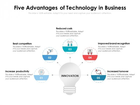 Five Advantages Of Technology In Business Ppt PowerPoint Presentation File Example PDF
