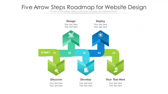 Five Arrow Steps Roadmap For Website Design Ppt PowerPoint Presentation Gallery Examples PDF