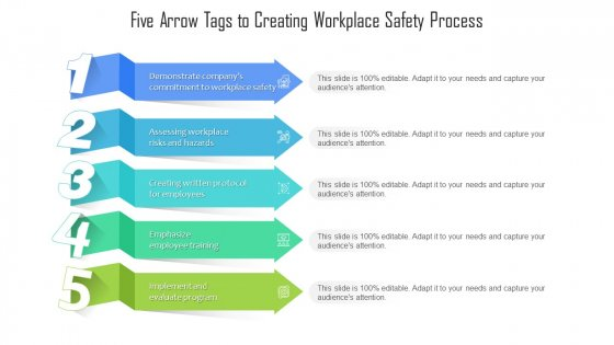 Five Arrow Tags To Creating Workplace Safety Process Ppt PowerPoint Presentation File Infographics PDF