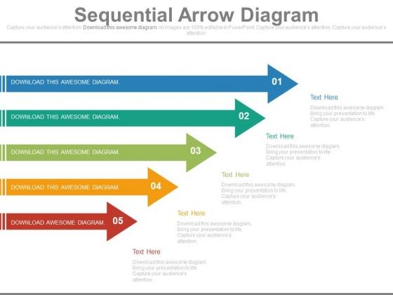 Five Arrows Diagram For Process Flow Powerpoint Slides