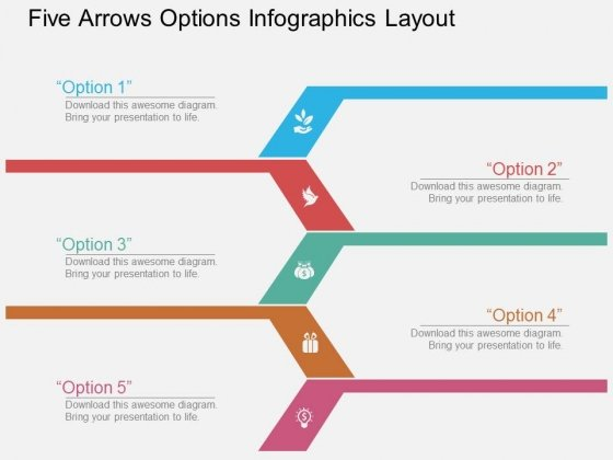 Five Arrows Options Infographics Layout Powerpoint Template