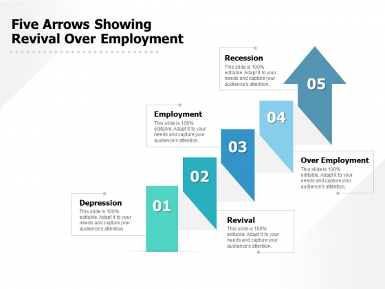 Five Arrows Showing Revival Over Employment Ppt PowerPoint Presentation Pictures Gallery