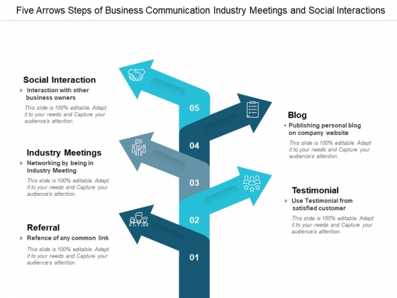 Five Arrows Steps Of Business Communication Industry Meetings And Social Interactions Ppt Powerpoint Presentation Professional Sample