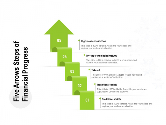 Five Arrows Steps Of Financial Progress Ppt PowerPoint Presentation Infographic Template Rules