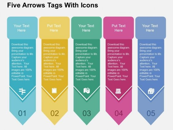 Five Arrows Tags With Icons Powerpoint Templates