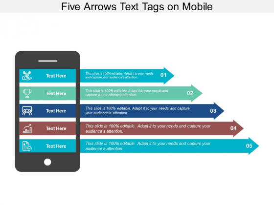 Five Arrows Text Tags On Mobile Ppt Powerpoint Presentation Show Sample