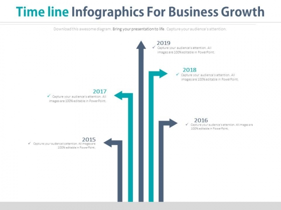 Five Arrows Timeline Diagram For Business Analysis Powerpoint Slides
