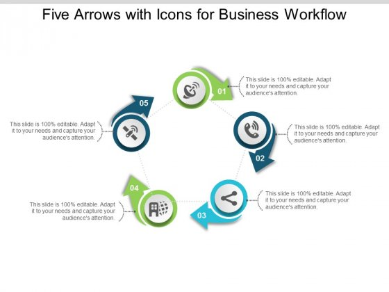 Five Arrows With Icons For Business Workflow Ppt Powerpoint Presentation Icon Show