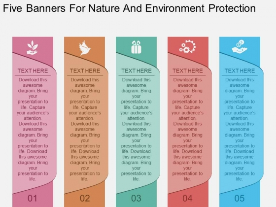 Five Banners For Nature And Environment Protection Powerpoint Template
