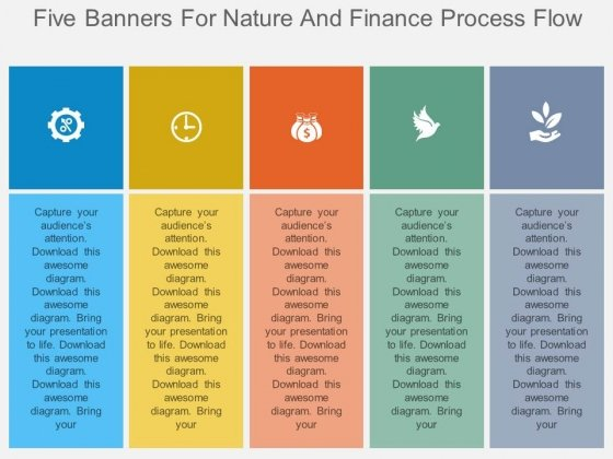 Five Banners For Nature And Finance Process Flow Powerpoint Template