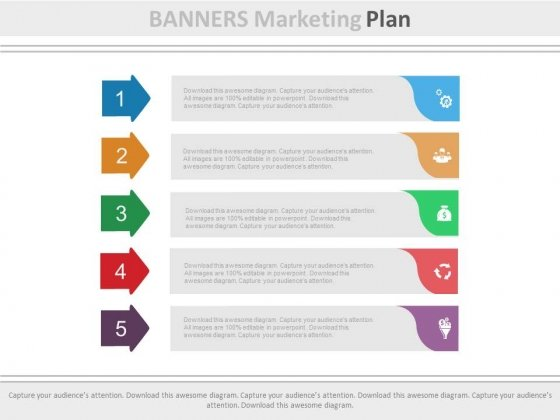 Five Banners Marketing Plan Powerpoint Template