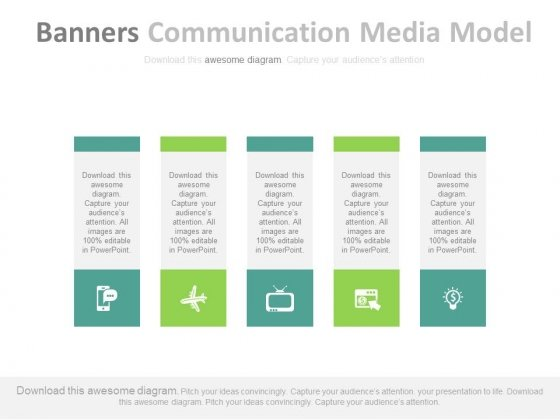 Five Banners With Communication And Media Icons Powerpoint Template
