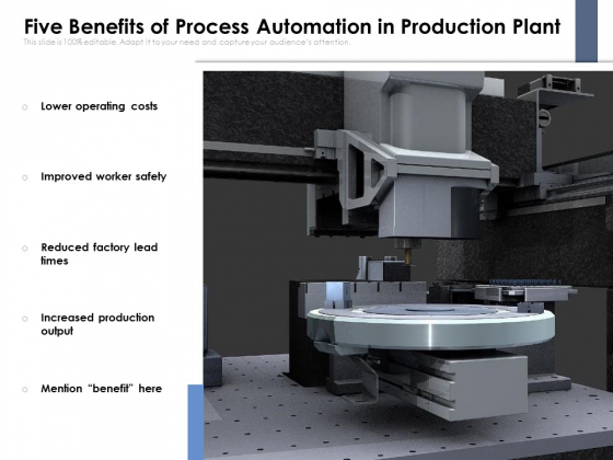 Five Benefits Of Process Automation In Production Plant Ppt PowerPoint Presentation Icon Background Images PDF