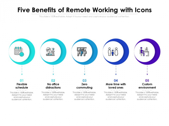Five Benefits Of Remote Working With Icons Ppt PowerPoint Presentation Icon Ideas PDF