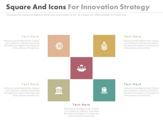 Five Boxes With Icons For Strategic Planning Powerpoint Slides