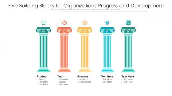 Five Building Blocks For Organizations Progress And Development Ppt PowerPoint Presentation Gallery Format PDF