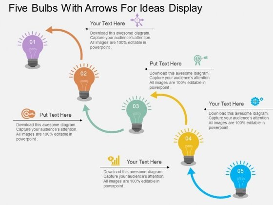 Five Bulbs With Arrows For Ideas Display Powerpoint Templates