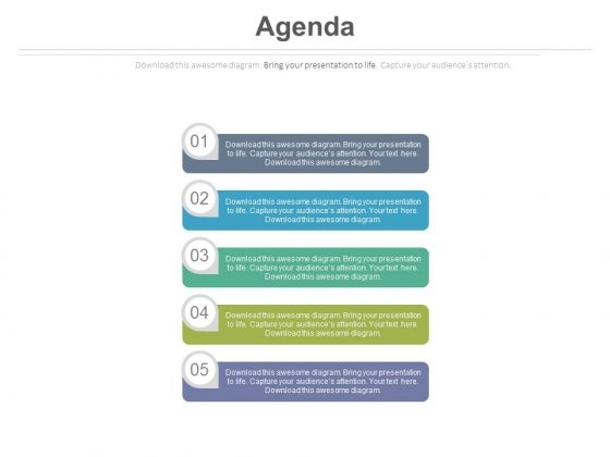 Five Business Agenda Tags Diagram Powerpoint Slides