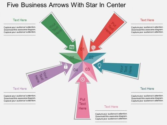Five Business Arrows With Star In Center Powerpoint Template