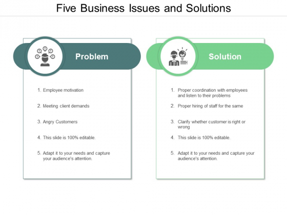 Five Business Issues And Solutions Ppt PowerPoint Presentation Inspiration Outline